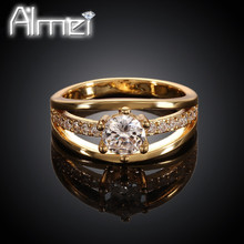 Almei 2016 Rose Gold Plated Engagement Crystal Rings Wedding Jewelry Women CZ Diamond Ring Nuevos Anillos Aneis Feminino KR007