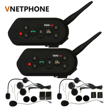 2018 Vnetphone 2pcs E6 Pro Motorcycle Helmet Bluetooth Headset Intercom 6 Riders 1200M Wireless Intercomunicador BT Interphone