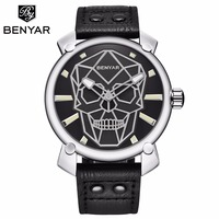 Benyar Black Leather Quartz Watch Men Creative Skull Mens Watches 2018 Luxury Brand Sport Male Wrist Watches Montre Homme XFCS