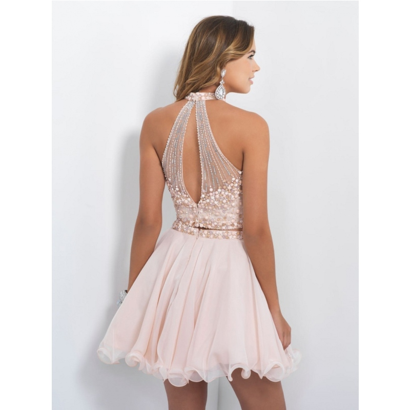 2016 New Two Pieces nude pink homecoming dresses beaded gorgeous ...