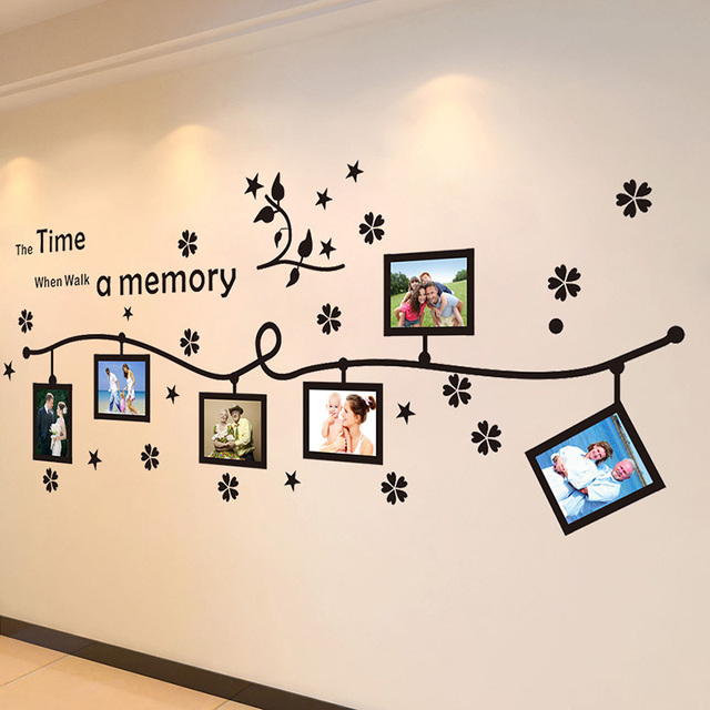 DIY Flower Stars Photo Flower Vine Wall stickers Quotes Vinyls Stickers Large 240*80cm family Wall decals Home Decor Living Room