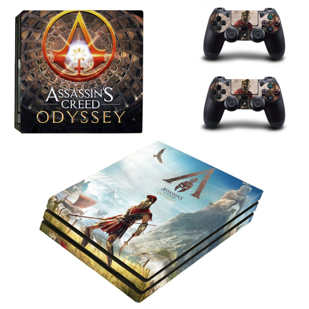 Game Assassins Creed Odyssey PS4 Pro Skin Sticker Decal for PlayStation 4 Console and 2 Controller PS4 Pro Skin Sticker Vinyl