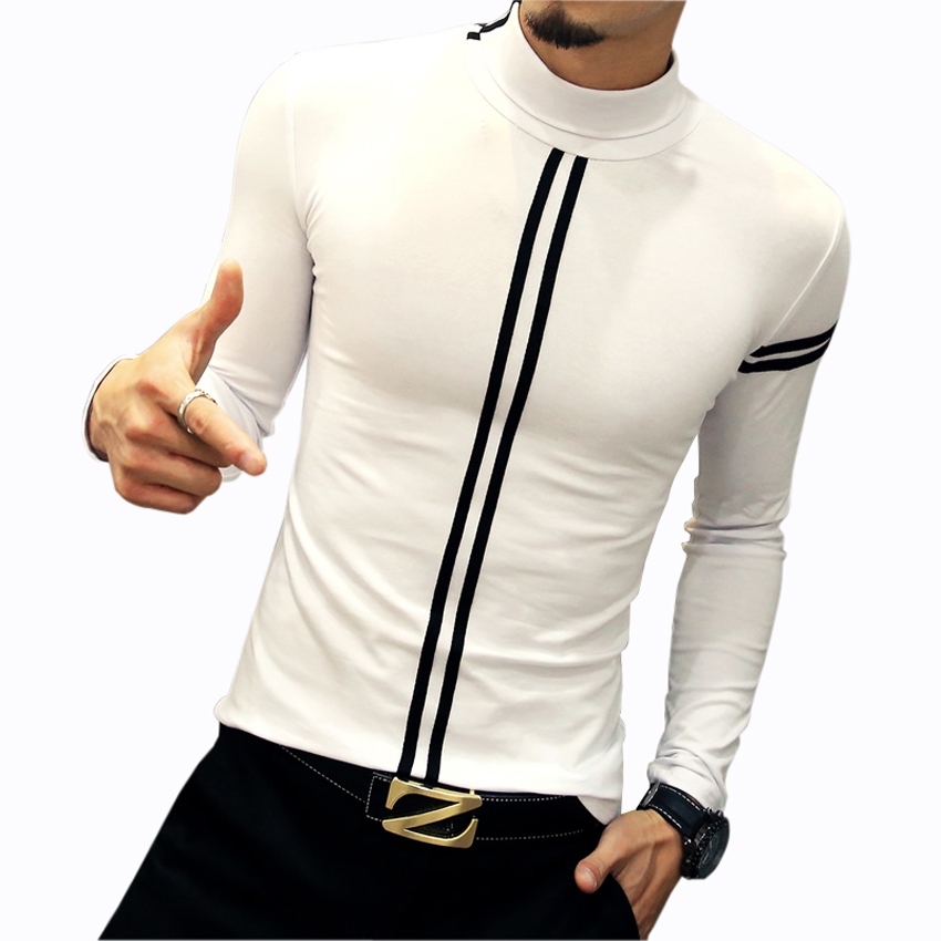 New design men 39 s t shirts fashion leisure turtleneck for Turtleneck under t shirt