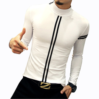 New Design Men S T Shirts Fashion Leisure Turtleneck Fitness Autumn Winter Under Shirt Slim Tight