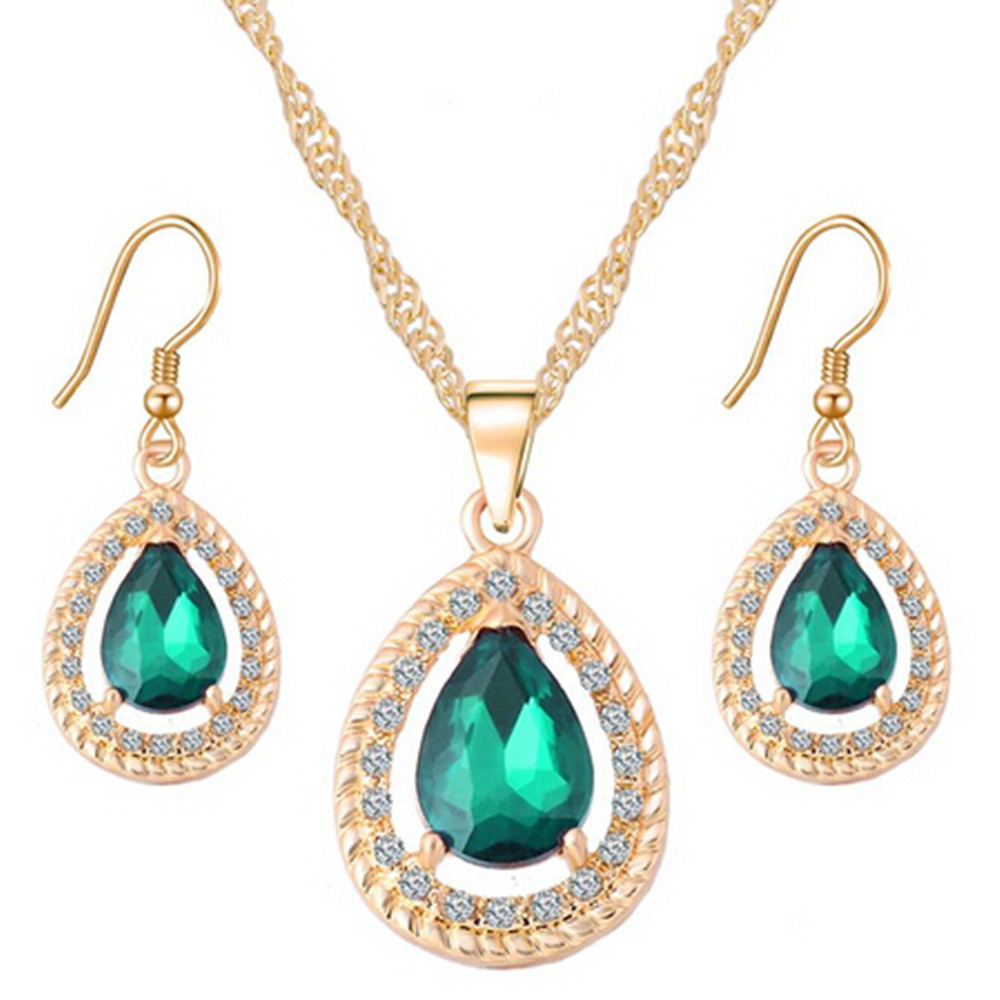 Gold Color Water Drop Cubic Zirconia Necklace Earrings Fashion
