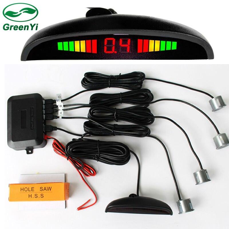 GreenYi автомобиля светодиодный парковка Сенсор комплект Дисплей 4 Сенсор s 22 мм 12 В для всех автомобилей Обратный помощь резервного копирования радар монитор Системы
