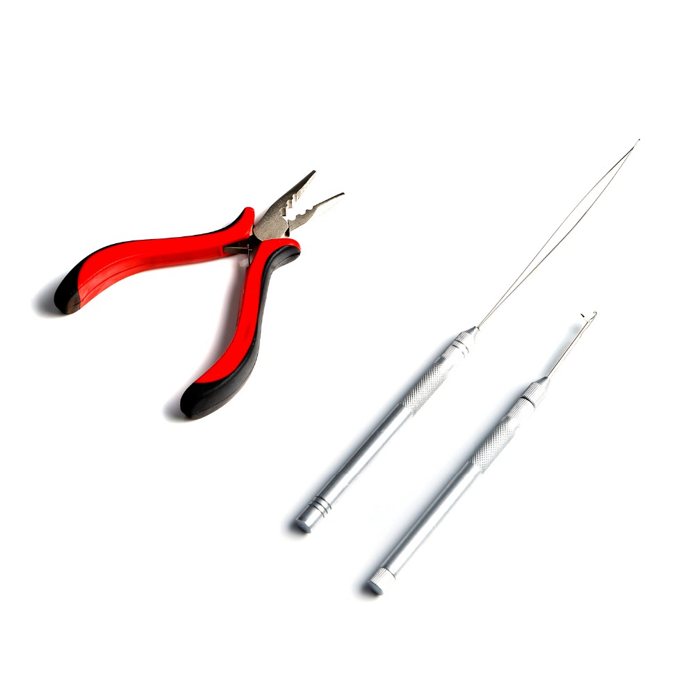 Neitsi One Set Hair Tools For Ring Extensions(1pc Plier+1PC Stainless Steel Threader+1PC Hook Needle)