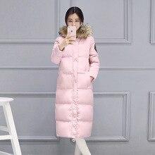GABREBI 2016 Fashion Winter Plus Size Cotton Thick Hoody Winter Down Coats Long Sleeves Fur Collar