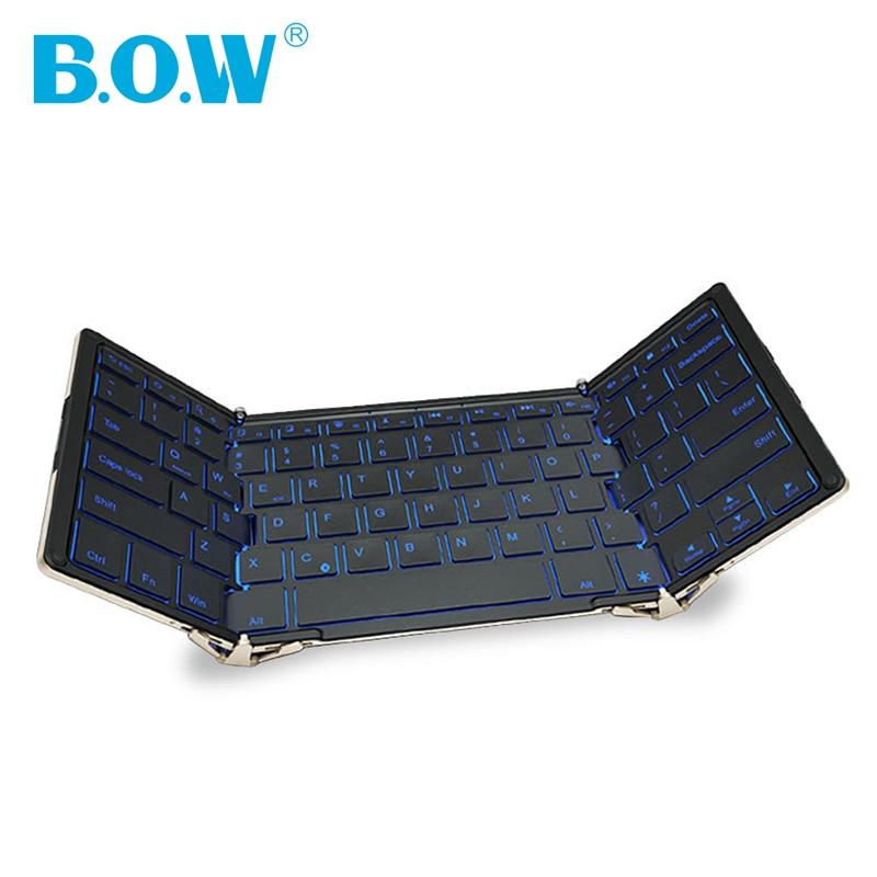 Tastatură fără fir wireless B.O.W cu iluminare din spate 3 culori, tastatură bluetooth triplă plată pentru tablete, smartphone-uri, PC