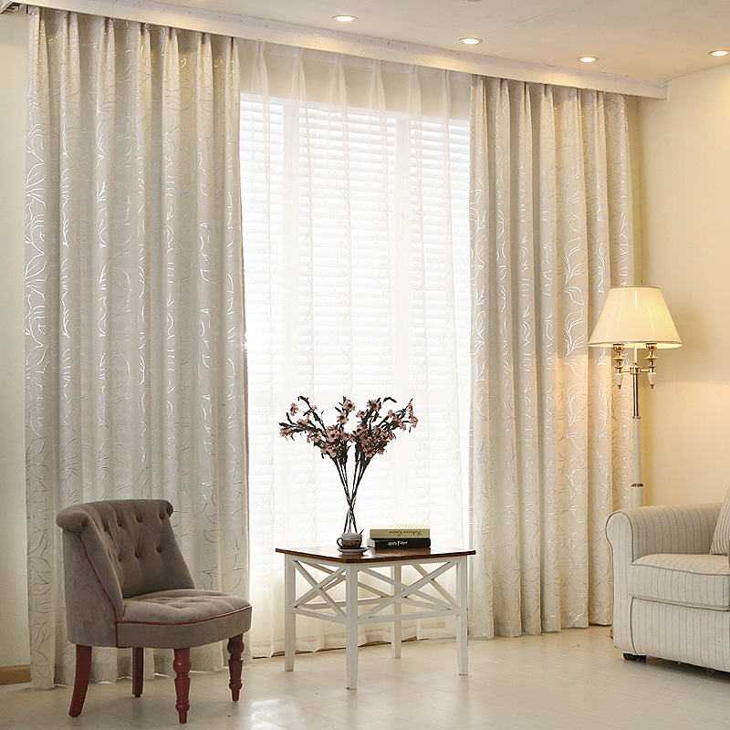 Thicken Blinds Curtains For Living Room Leave Jacquard Customized