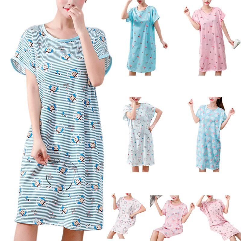 Women Girls Summer Short Batwing Sleeve   Sleepshirt   Cartoon Flamingo Pineapple Stripes Printed Milk Fiber Nightdress Oversized Lo