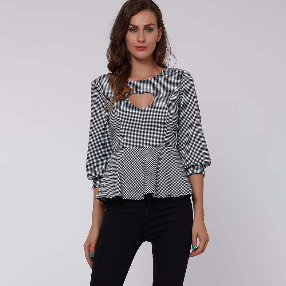 Young17 Summer Blouse Gray Round Neck Lantern Sleeve High Street Plaid Short Wrapped Pullover Tops Women A Line Blouses