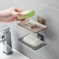 Portable Soap Dishes Drain Sponge Holder Bathroom Organizer Wall Mounted Storage Rack Soap Box Kitchen Hanging Shelf
