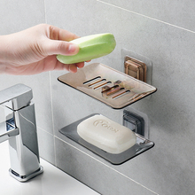 Portable Soap Dishes Drain Sponge Holder Bathroom Organizer Wall Mounted Storage Rack Box Kitchen Hanging Shelf