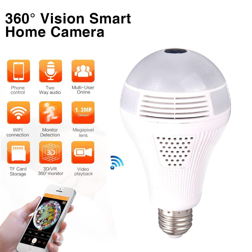Jiawen 360 panorama maison intelligente sécurité Wifi 1.30MP VR caméra LED ampoule sécurité caméscope détection de mouvement
