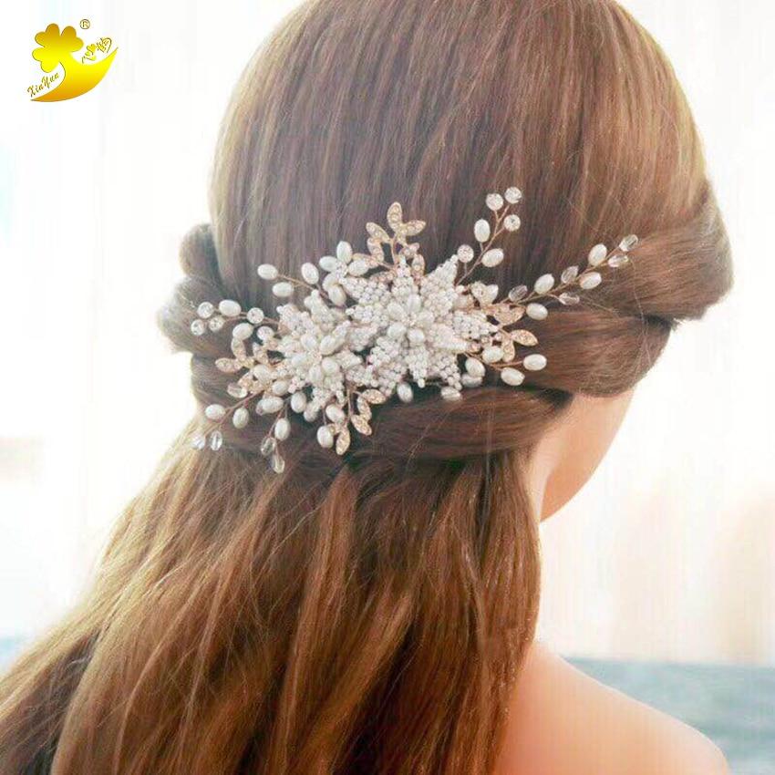 Xinyun Bridal Crystal Pearl Hair Comb Rhinestone Hair Piece Women Simulated-pearl Hair Jewelry Wedding Tiaras Crown Headpiece