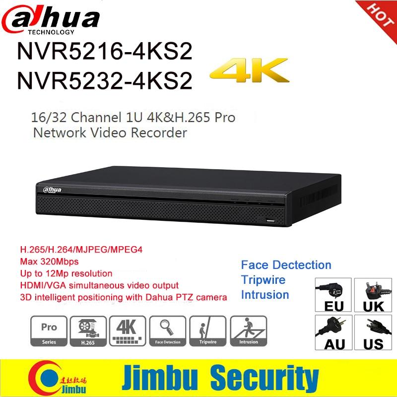 Dahua NVR 4 k H.265 H.264 vidéo enregistreur NVR5216-4KS2 16CH NVR5232-4KS2 32CH Pour IP Caméra jusqu'à 12Mp résolution Tirpwire DVR