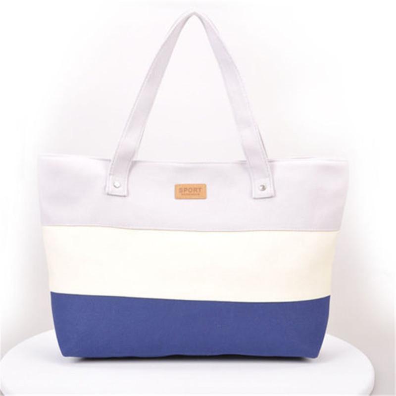 2017 New Mujer Summer Messenger Bag Beach Handbag Bags Brand Totes Women Ladies Stripes Canvas Shoulder Bag Drop Shipping N508 5