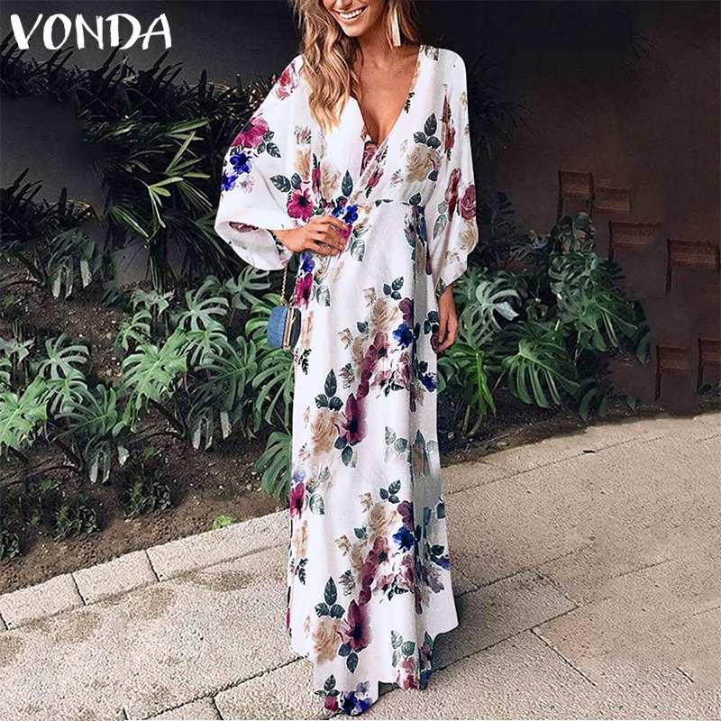 VONDA 2019 осенне-летнее платье женское цветочное сексуальное платье макси длинное Vestido вечернее пляжное платье Femme цветочный плюс размер 5XL