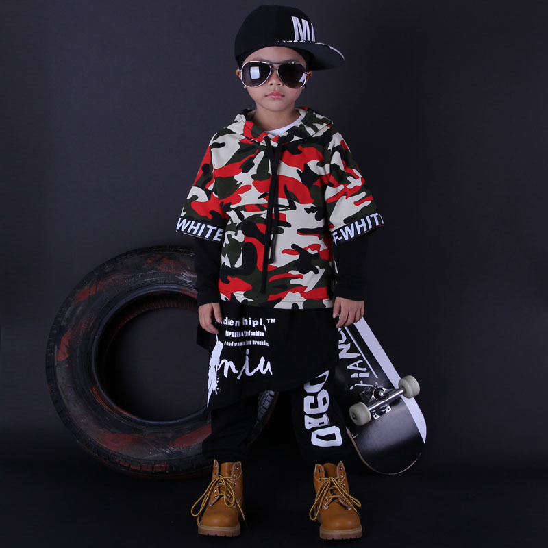 Fashion Cool Kids Set Unisex Costumes Colorful Camouflage Hip Hop Dance Hoody & Dress & Pants Kids 3pcs Set Tracksuits 2016 kids adults spring summer geometric star set black costumes hip hop dance pants