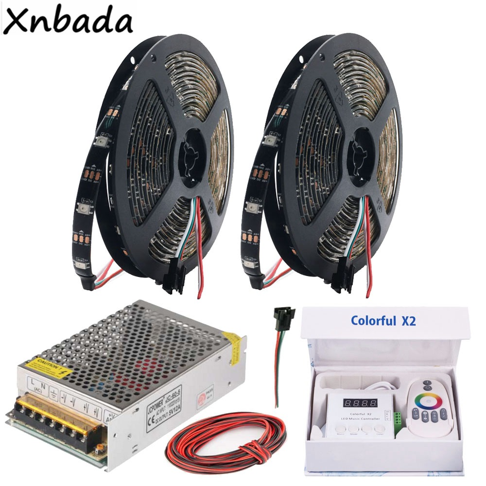 WS2812B WS2812 RGB Led Streifen Licht Bunte x2 RGB Led Musik Controller Mit RF Touch Remote DC5V Led Transformator Kit