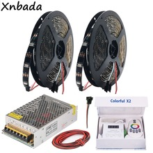 WS2812B WS2812 RGB Led Strip Light Colorful x2 Music Controller With RF Touch Remote DC5V Transformer Kit