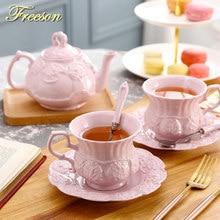 Elegancki różowy ceramiczny zestaw do herbaty Retro porcelanowy kubek do herbaty garnek brytyjski kwiatowy czajniczek kubek Cafe Teatime filiżanka kawy Dropshipping