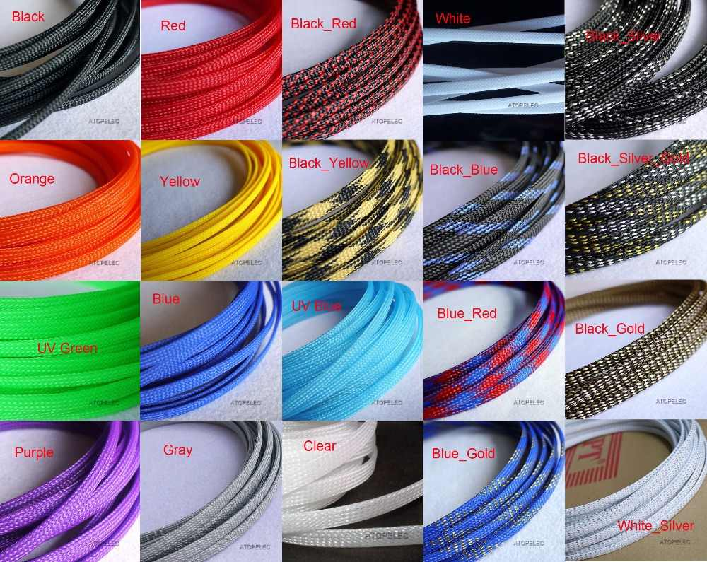 "6 Mm Lebar 1/4 ""Tight Dikepang PET Expandable Sleeving Kawat Kabel Selubung Hitam/Merah/Orange/Kuning /Hijau/Biru/Ungu/Abu-abu/Putih/Clear"