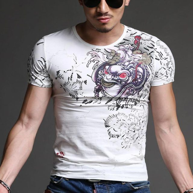 2017 Slim V- Neck Fashion Luxury Bronzing Print Men T shirt Brand