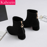 Kahozin high heel ankle boot square heel zip suede black Spring/autumn fashion casual office shoe nice shoes for women size33 43