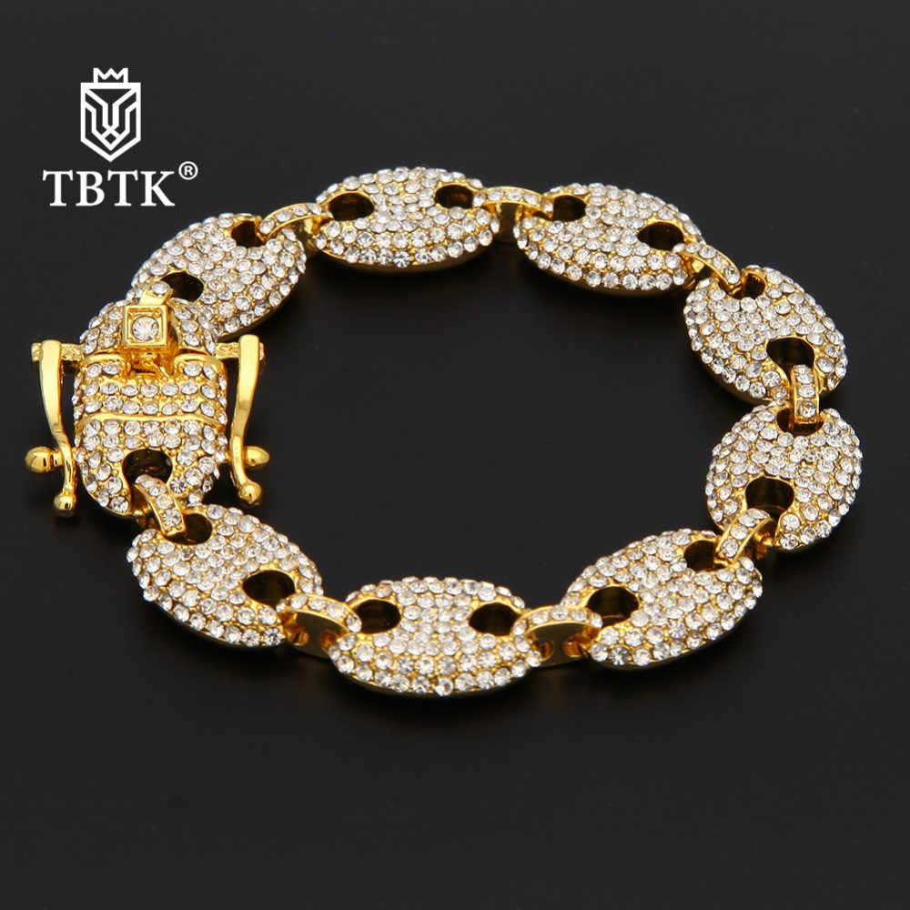 TBTK 13mm Width Purried Marine Chain Fat Link Bracelet Luxury Jewelry Bling Beautiful Rhinestone Zinc Alloy Wrist Jewelry Man