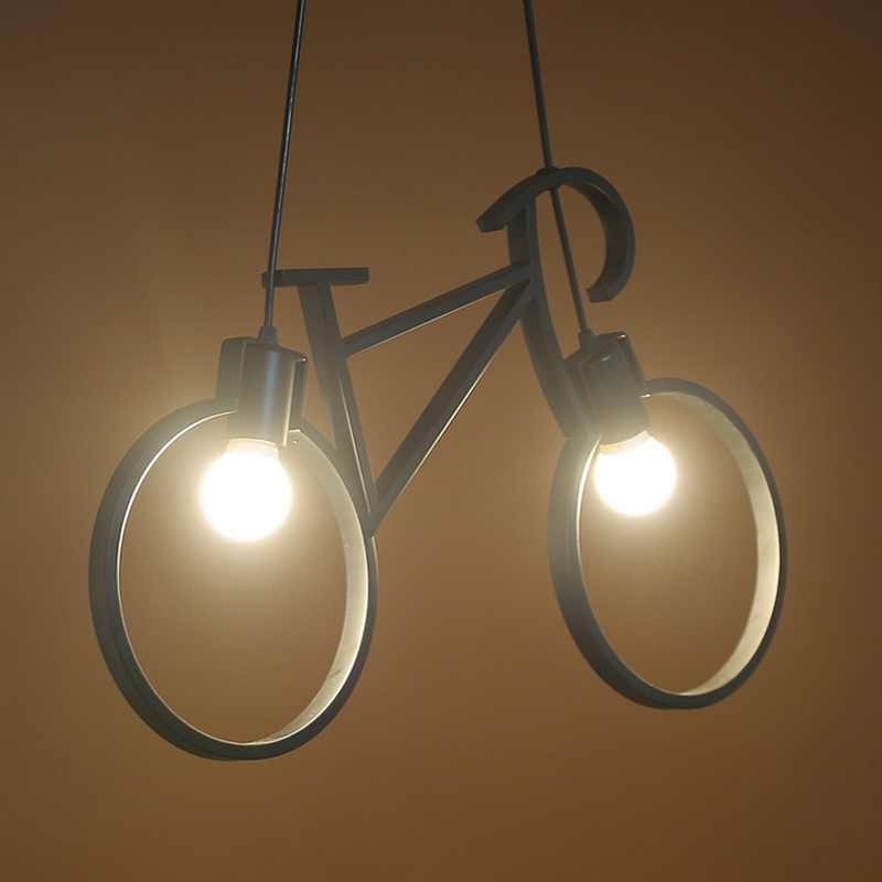 Iron Retro Vintage Bicycle Pendant Light E27 Industrial Lamp Edison Bulb American Style For Living Room Bedroom AC90V-260V