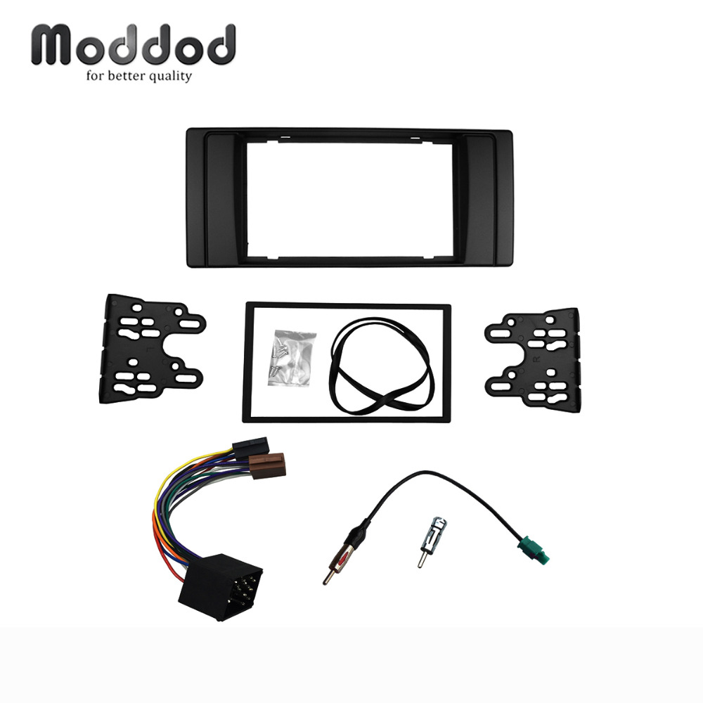 for bmw series 5 e53 e39 radio dvd stereo panel dash double din fascia trim kit frame with wiring harness antenna aerial adaptor [ 1000 x 1000 Pixel ]
