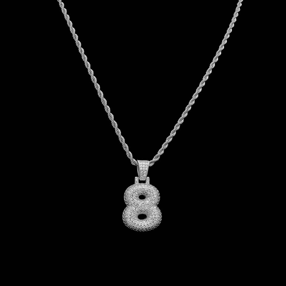 ... Bling CZ Custom Bubble Number 0-9 Pendant with Rope Chain Copper  Numbers Gold Silver ... 1e937a2e7bca