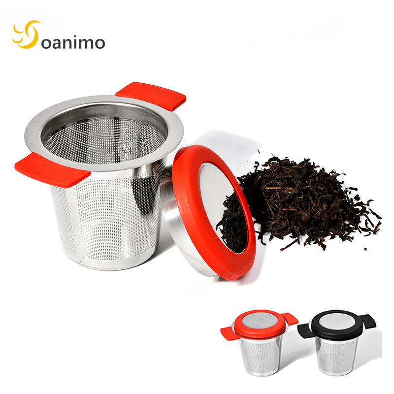 Soanimo 1pc Stainless Steel Tea Infuser + Removable Silicion Handles Fine Mesh Tea Strainer Loose Tea Leaf Teaware Tea Tools