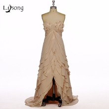 Champagne Evening font b Dress b font Hi Low Real Photo Actual Image Women Evening Dressed