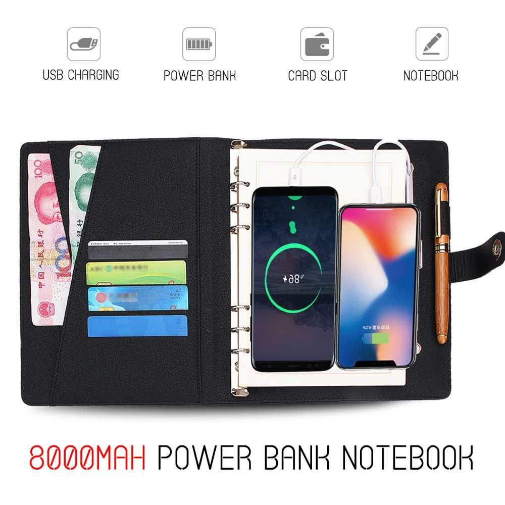 Многофункциональный внешний аккумулятор для ноутбука с 8000 мАч зарядным устройством usb зарядное устройство записная книжка Переплетчик дне...