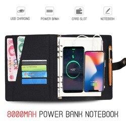 Cuaderno de Banco de energía multifuncional con Banco de energía de 8000 mAh cargador de carga USB cuaderno de notas
