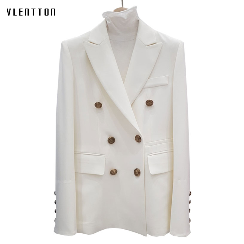 High Quality Spring Women's Jacket Blazer Coat Double-Breasted Black White Office Blazer Long Sleeve Female Suits Jacket Outwear