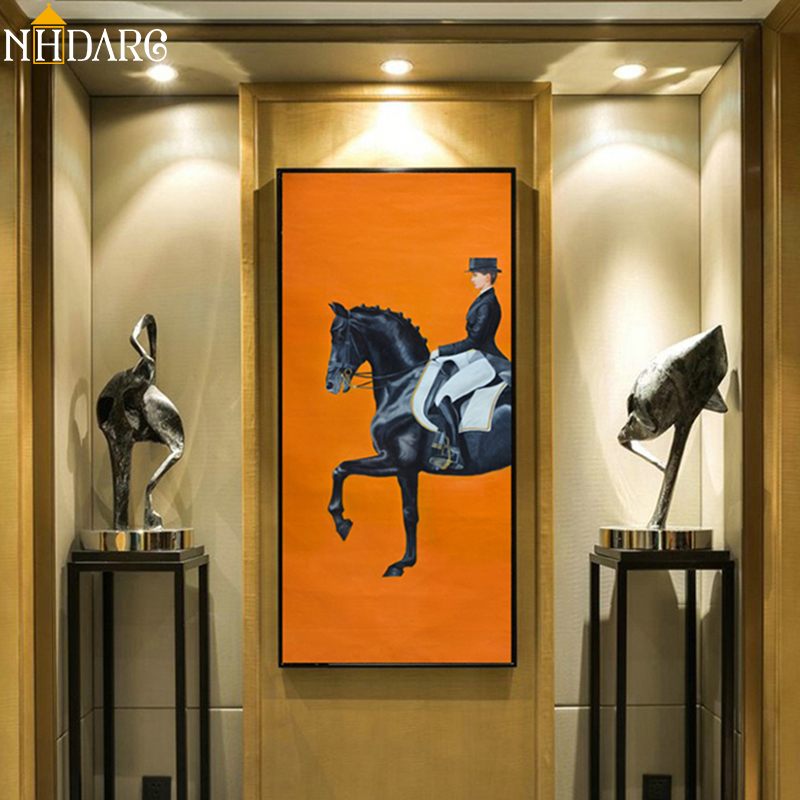Classic Modern Orange Horse Racing Canvas Print Painting Poster Cool Wall Art Wall Pictures For Entryway Large Size Home Decor
