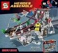 SY840 enfrentamiento en el puente de Spider-man heroes montar grandes bloques de Construcción de plástico establece bloques educativos juguetes