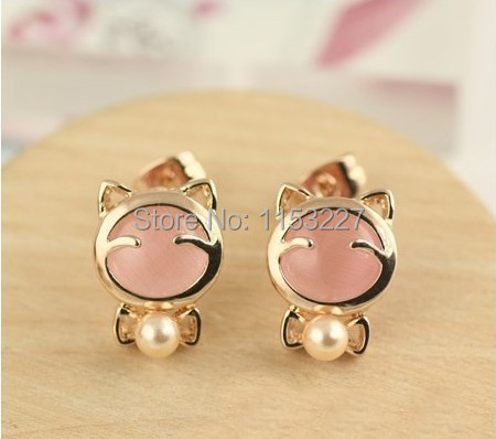 11.11 Shopping Festival gold Diamante opal pearl figure doll bow shaped ladies ks earrings girls designs pictures