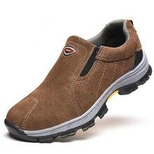 Respirable ocasional de los hombres de gran tamaño de trabajo de acero puntera zapatos de seguridad botas de herramientas de cuero de ante de la vaca slip on de seguridad mocasines