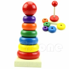 Baby Kid Stacking Stack Up Nest Learning Wooden Education Toy Rainbow Tower Ring