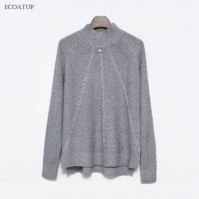 b3b5c9716bf3 Loose Sweater Women Winter Brand Casual Twist Side Vent Pullover Female  Jumpers 5 Pure Color Mock Neck Knitted Oversize Sweaters