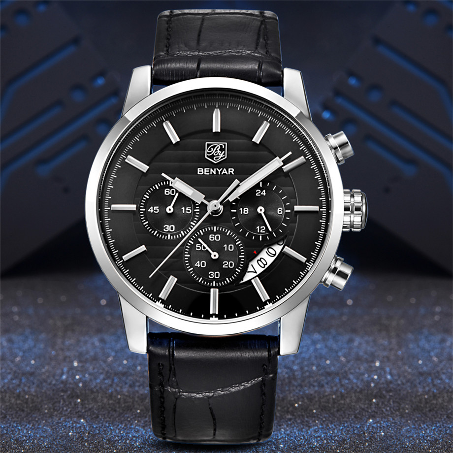 BENYAR Watch Men Waterproof Chronograph Business Dress Mans Watches Date Quartz Wristwatches Male Hour relogio masculino 2017 (2)