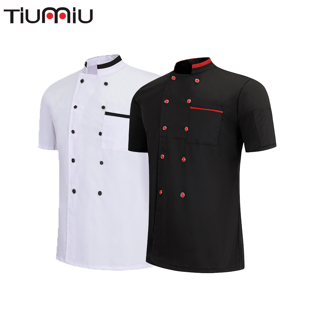 Chef Jacket Double Breasted Fast Food Service Summer Short Sleeve Dessert Coffee Teahouse Uniform Restaurant Workwear Shirt