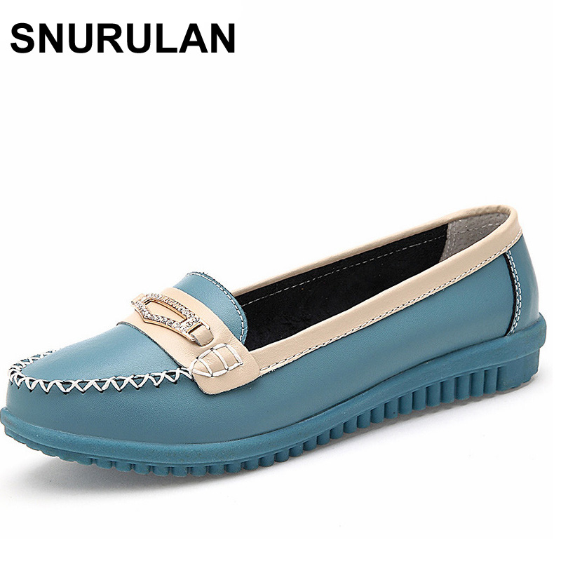 SNURULAN Fashion Women's Casual Shoes Slip-On Woman Loafers Genuine Leather Female Flats Shoe Crystal Ladies Boat Shoes Driving winter fur women loafers slip on leather ladies flats warm plush driving boat shoes woman moccasins new casual female solid shoe