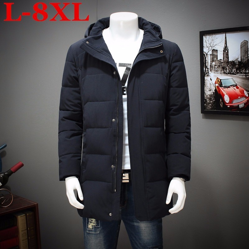 plus size 8XL 7XL 6XL Winter Cotton padded Clothes Long Youth Increase Fertilizer Enlarge Loose Coat The Fat Jacket Overcoat