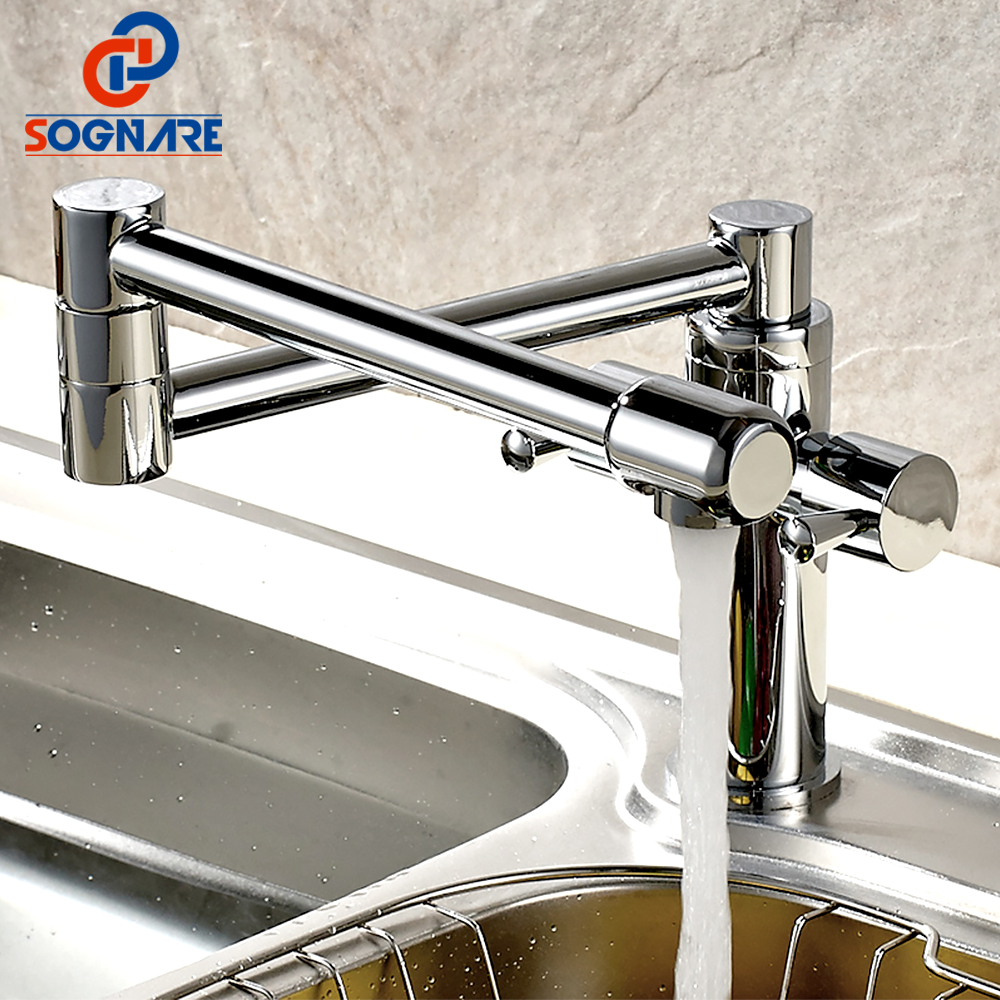 SOGNARE Solid Brass Kitchen Sink Taps Rotatable Chrome Kitchen Faucet Folding Single Handle Mixer Tap Faucet Cold and Hot D2333C high quality single handle brass hot and cold basin sink kitchen faucet mixer tap with two hose kitchen taps torneira cozinha
